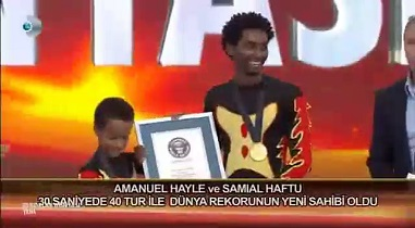 Samuel Haftu and Amanuel Haile of Ethio Circus break Guinness World Record