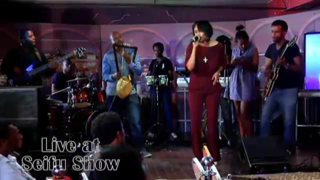 Tsedenya Geberemarkos Performing On Seifu Fantahun Show