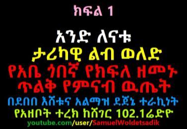 አንድ ለናቱ ታሪካዊ ልብ ወለድ Narrated By Debebe Eshetu From Sheger 102.1 - Part 1